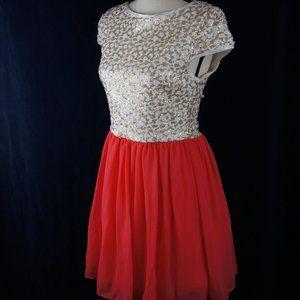 Short Prom Dress Pink & White/Gold